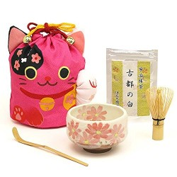 Chado tea ceremony 5 utensils set with manekineko bag